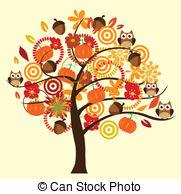 Fall tree Clip Artby lilac4/371; Fall tree - vector tree with fall elements