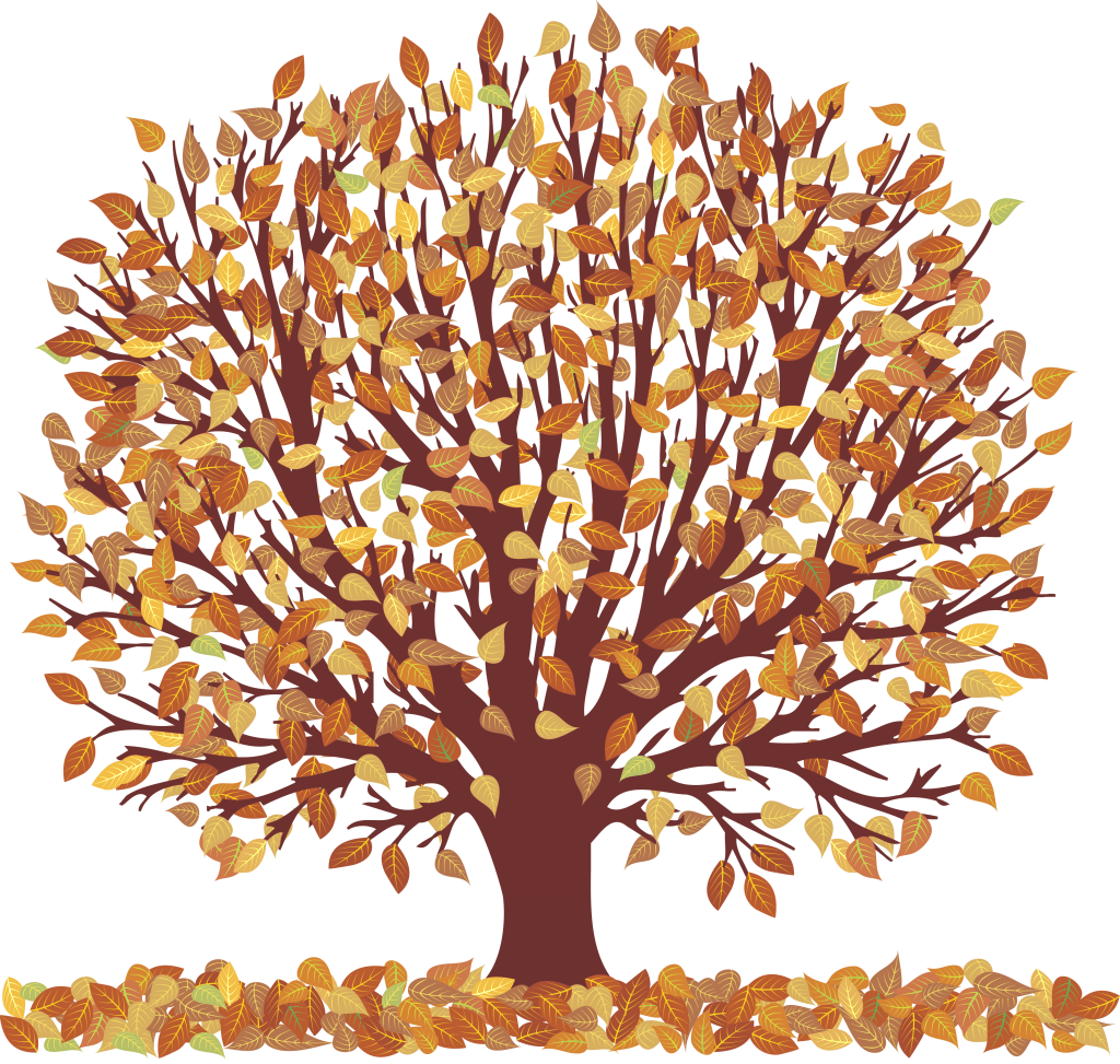 Fall trees and leaves clip art