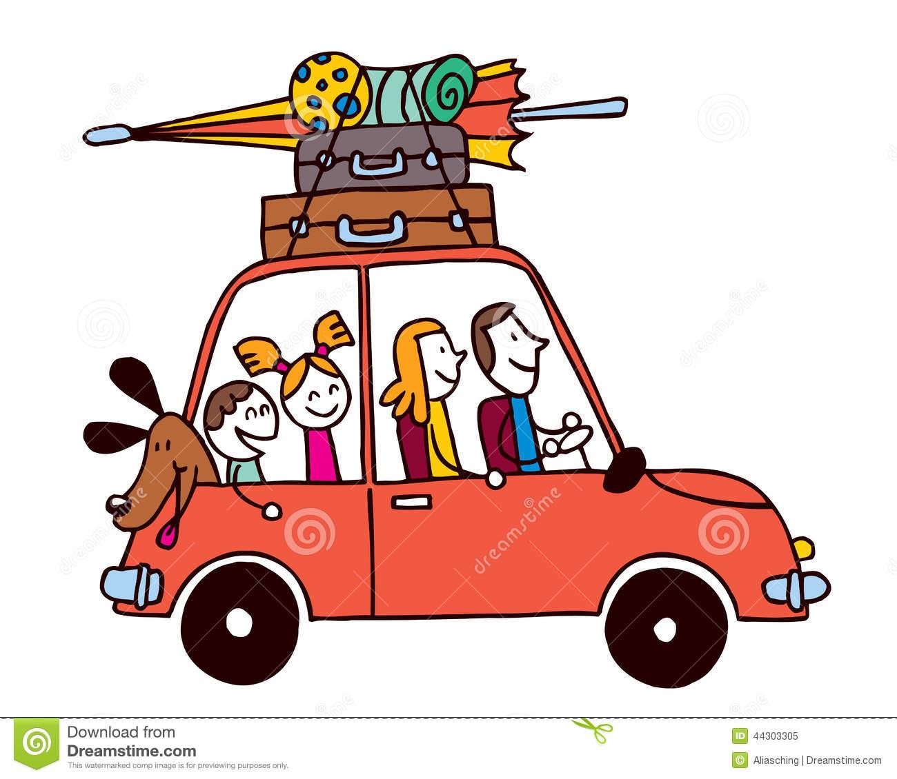 Famille de quatre vacances, voiture avec l illustration de vecteur de .