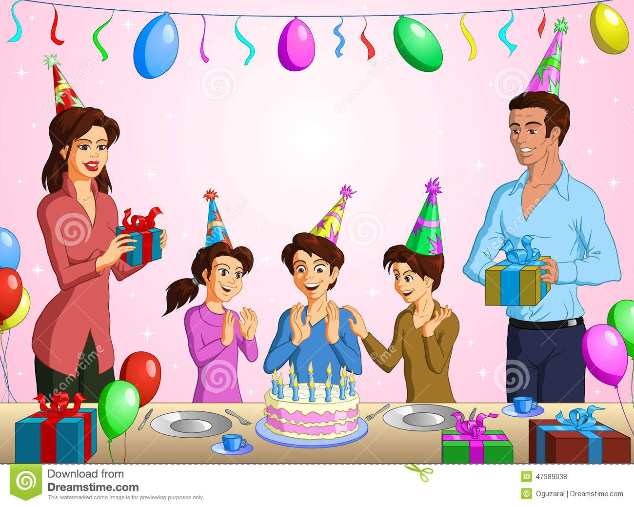 Family Birthday Party Clipart
