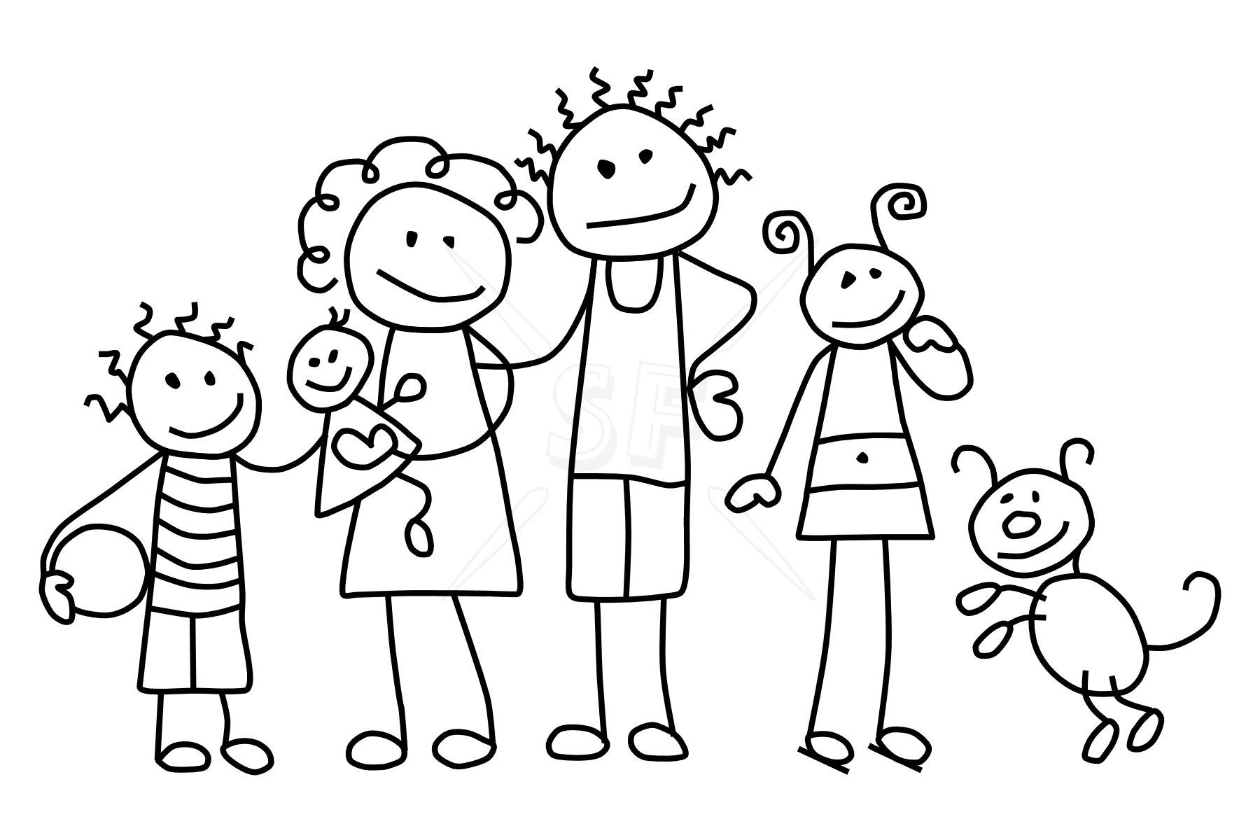 Family black and white black and white clipart family clipartall