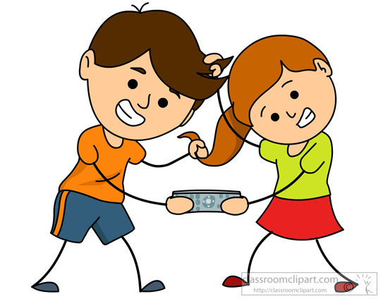 Family Brother And Sister Fighting For Remote Classroom Clipart