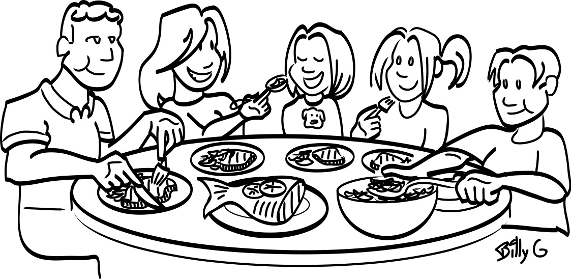 Family Clipart Eating Together. Black An-Family Clipart Eating Together. Black And White Of Nutrition .-3