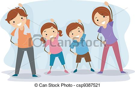 ... Family Exercise - Illustration of a Family Exercising... Family Exercise Clipartby ...
