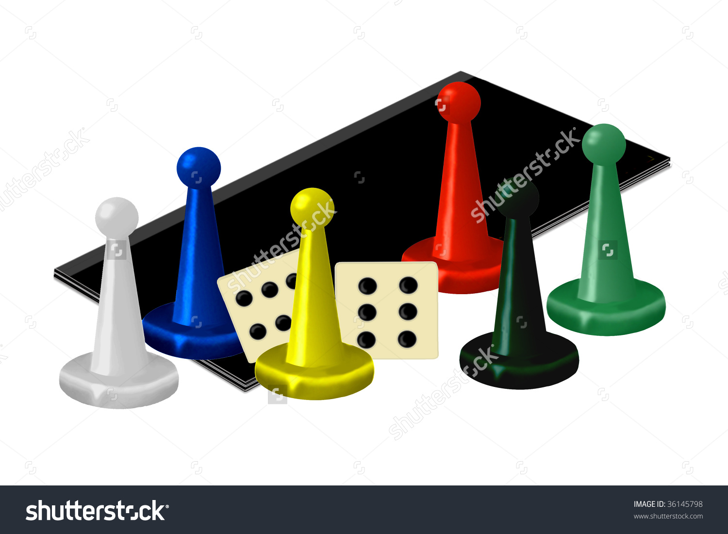 Family Game Night - Clipart of a game board, dice and brightly colored game pieces