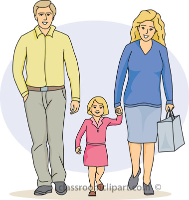 Family Mother Holding Childs Hand With Father Classroom Clipart