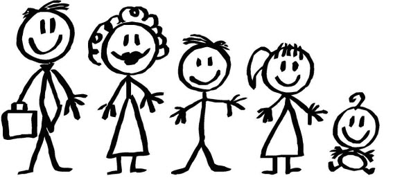 Family Of 4 Stick Figures .-Family Of 4 Stick Figures .-7