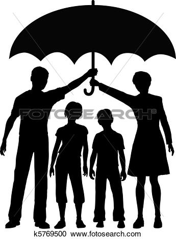Family parents holding insurance security risk umbrella