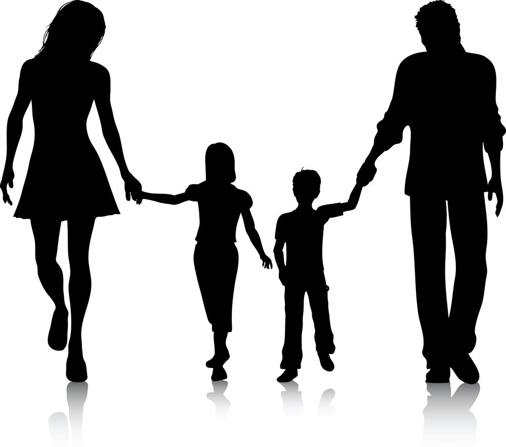 Family Silhouette Clip Art ... family of 5 clipart