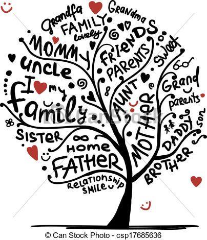 family tree clipart. Vector - Family tree sketch .