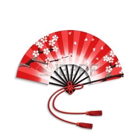 Realistic japanese folding fan with sakura flowers ornament isolated on  white background vector illustration Illustration
