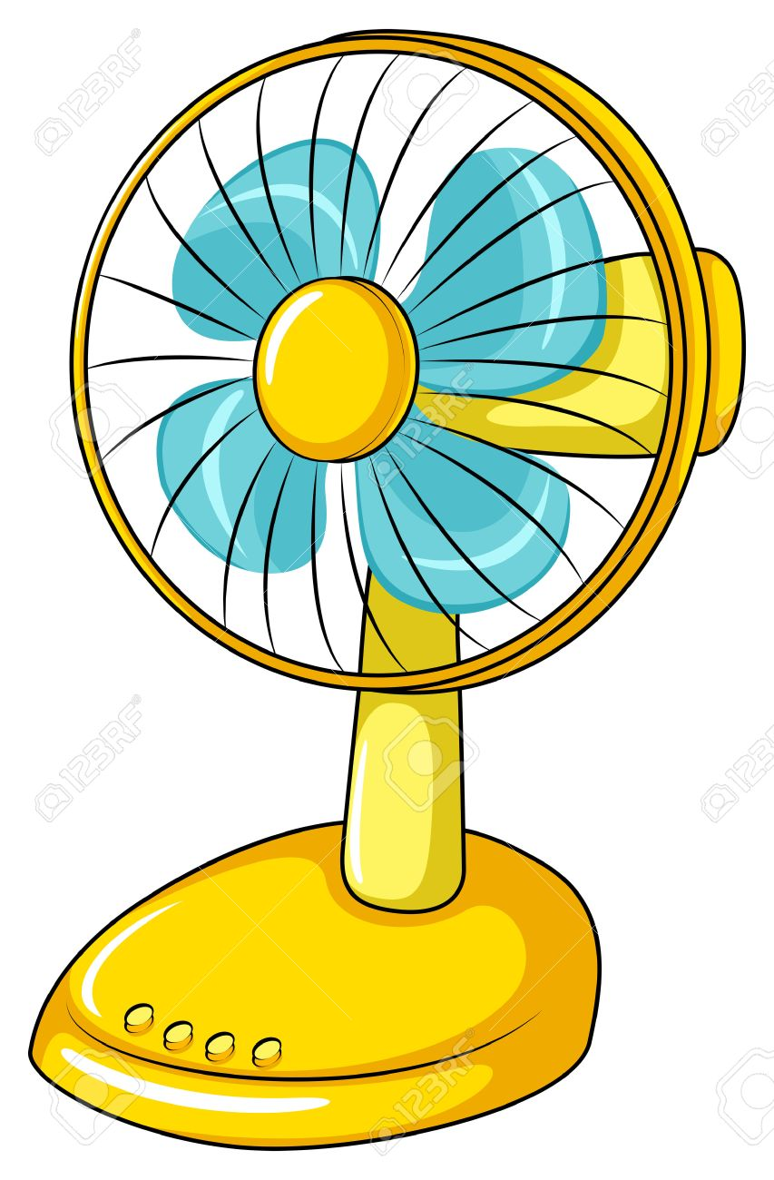 Yellow Electric Fan In Simple Design Royalty Free Cliparts