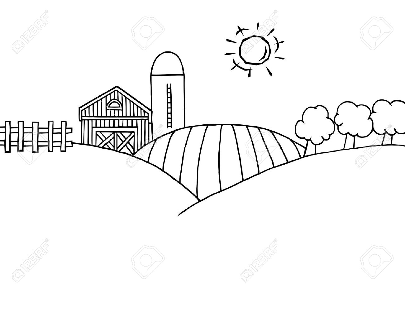 Farm And Silo On Farm Land .-Farm And Silo On Farm Land .-3