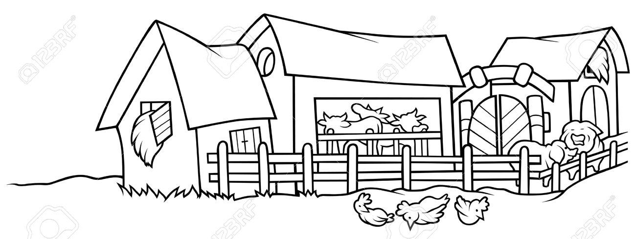 Farm - Black and White Cartoon .
