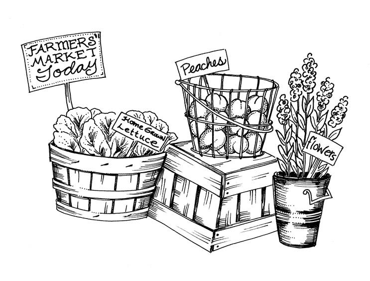 Farmers market clip art black and white