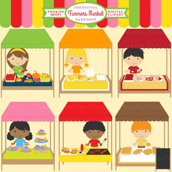 Farmers Market Clipart - 13 graphics included. Cute for your creative projects.