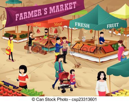 ... Farmers market scene - A vector illustration of farmers.