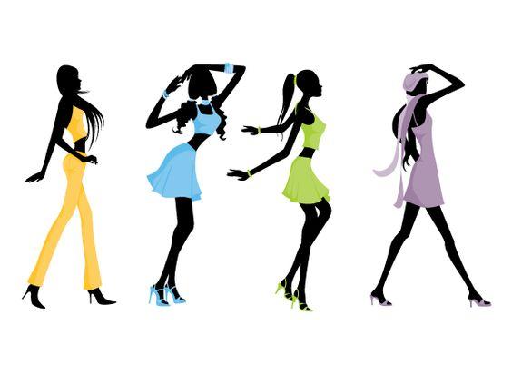 Fashion clipart silhouette silhouette fashion girls clip art