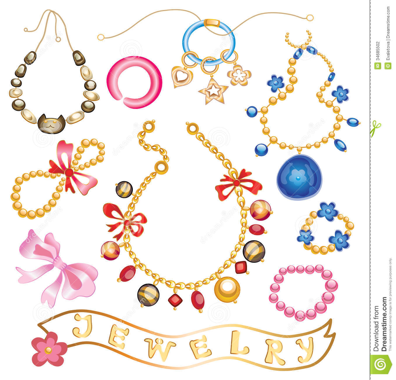Fashion Jewelry Clip Art Collection Of Gold Jewelery With Precious