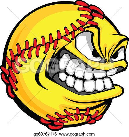 ... Fast Pitch Softball Face Cartoon Bal-... Fast Pitch Softball Face Cartoon Ball Vector Image-8
