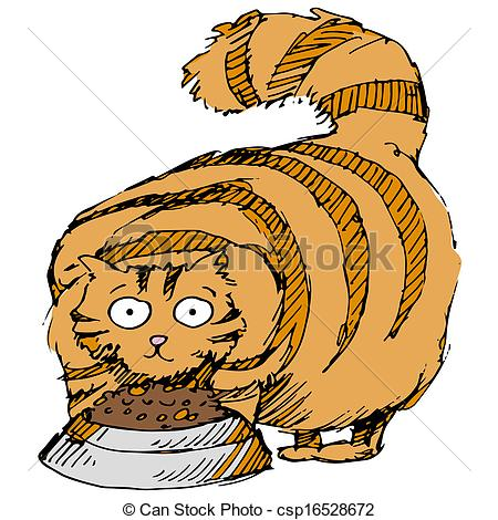 ... Fat Cat - An image of a fat cat eating food.