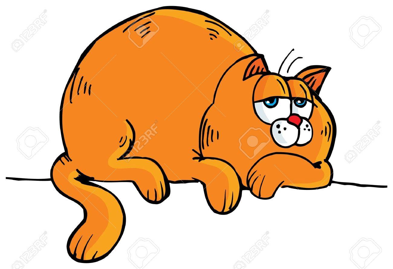 fat cat , cartoon of fat .