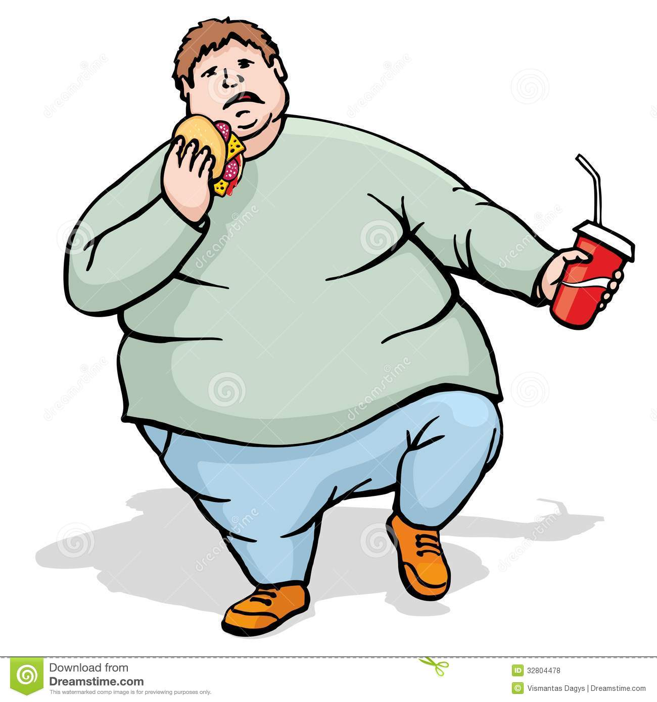Fat Man Walk And Eat Royalty Free Stock -Fat Man Walk And Eat Royalty Free Stock Photos Image 32804478-11