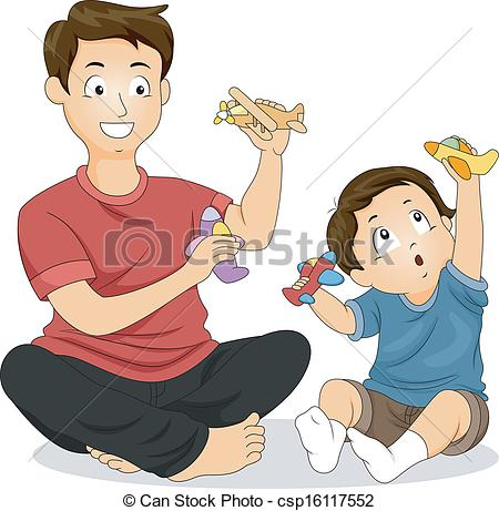 ... Father And Son Play Time - Illustrat-... Father and Son Play Time - Illustration of a Father and His.-12