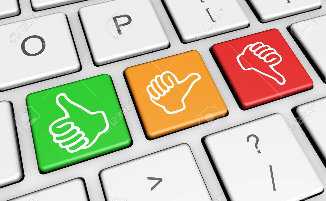 Business Quality Service Customer Feedba-Business quality service customer feedback, rating and survey keys with  hands thumb up symbol and-1