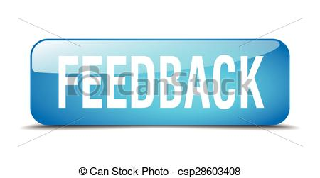 Feedback Blue Square 3d Realistic Isolat-feedback blue square 3d realistic isolated web button - csp28603408-3