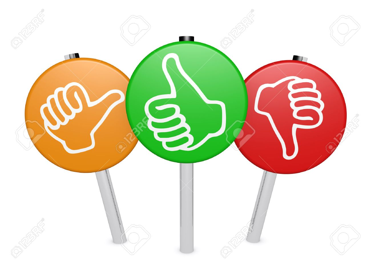 Customer business feedback, rating and survey positive and negative sign  post with thumb up and