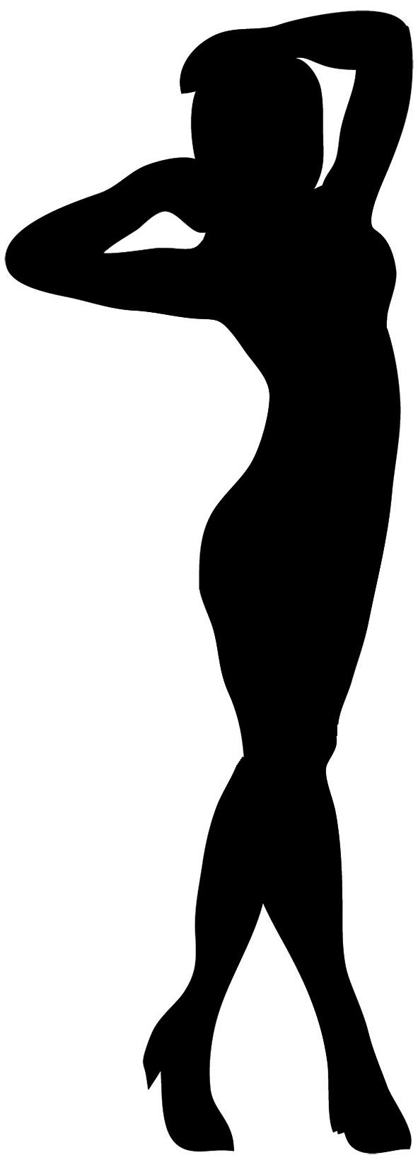 female silhouette standing woman black ...