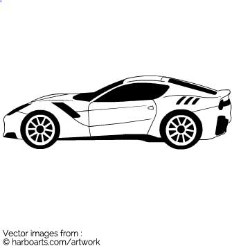Ferrari vector outline. Ferraris reputation is a sign of speed, luxury and  wealth. DOWNLOAD this vector Ferrari outline clipart for a few dollars  (formats ClipartLook.com
