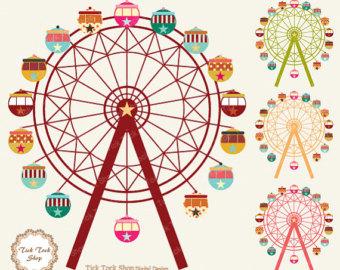 Ferris wheel high quality SET - (12 inch) Clip Art