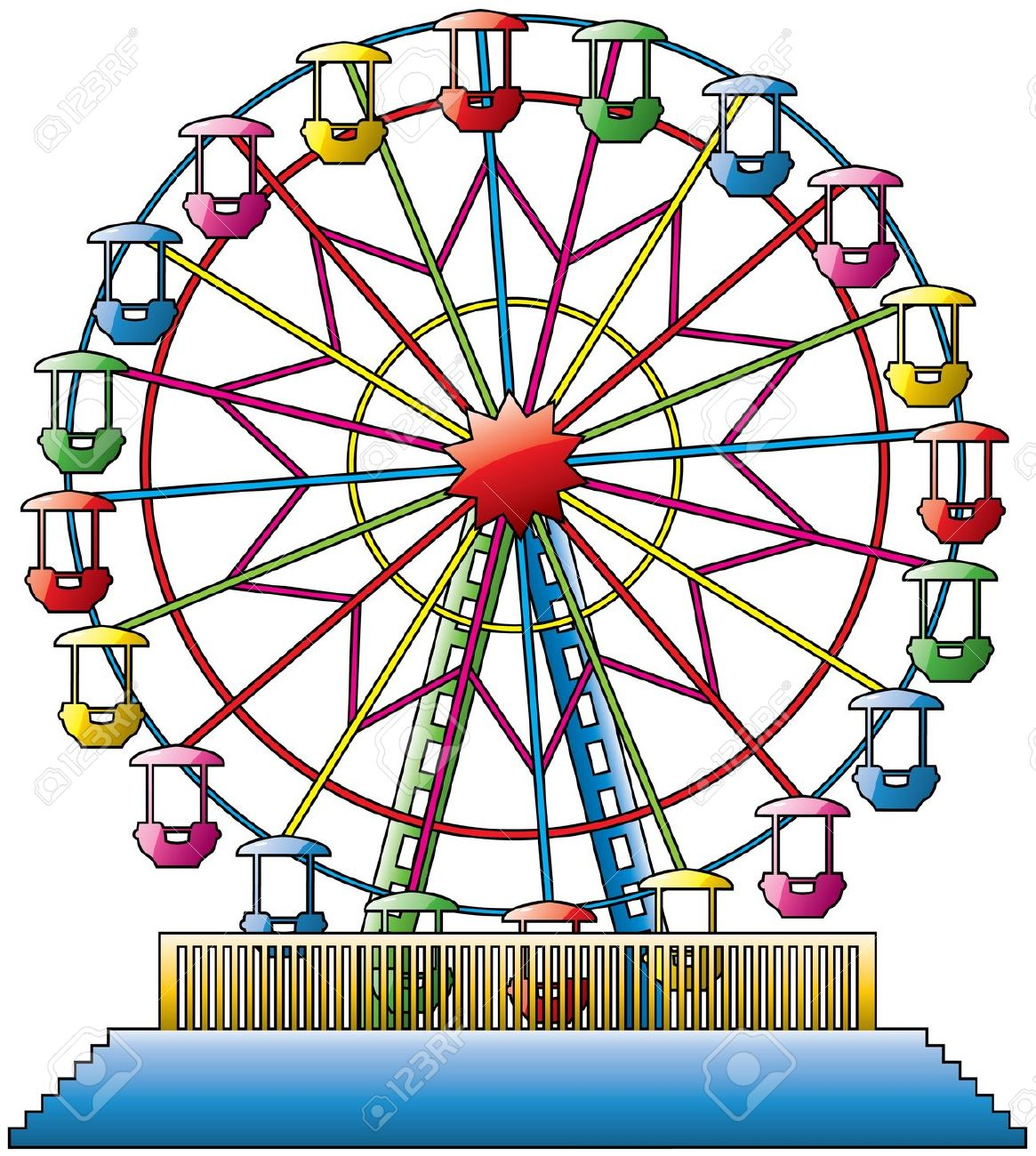 ferris wheels: vector . - Ferris Wheel Clip Art
