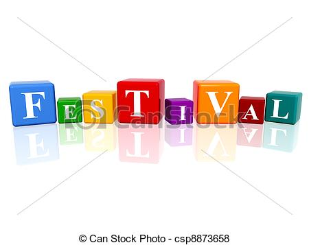 festival in 3d cubes - 3d colourful cubes with letters makes... ...