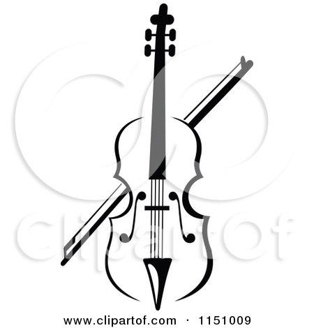 Fiddle Clipart 1151009 Clipart Of A Black And White Viola Or Fiddle
