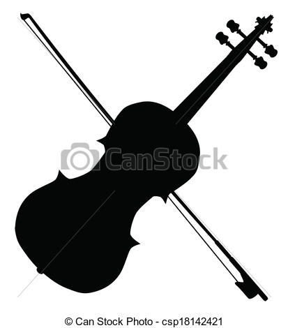 ... Fiddle Silhouette - A typical violin-... Fiddle Silhouette - A typical violin and bow silhpuette.-18