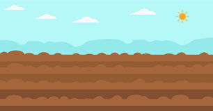 Background of plowed agricultural field. Background of plowed agricultural  field flat design illustration. Horizontal