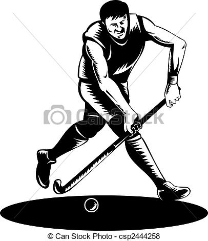 ... Field hockey player running with ball - illustration of a.