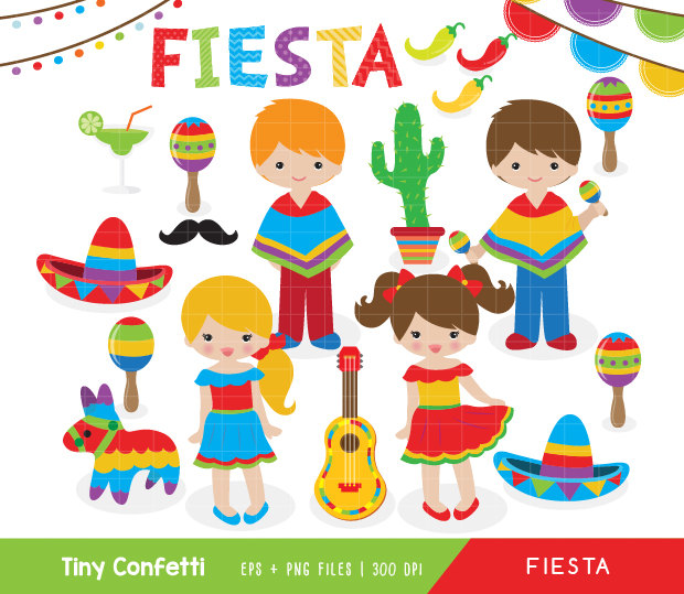 fiesta clipart, cinco de mayo clipart, mexican fiesta clip art, pinata clipart, sombrero, guitar, cactus, chili, kids, cute, fiesta birthday