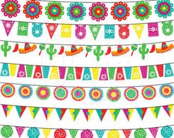 Fiesta Garland Cute Digital Clipart for Invitations, Card Design, Scrapbooking, and Web Design, Fiesta Clipart