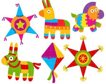 Fiesta Piñatas Set Clip Art for Scrapbooking Card Making Cupcake Toppers Paper Crafts