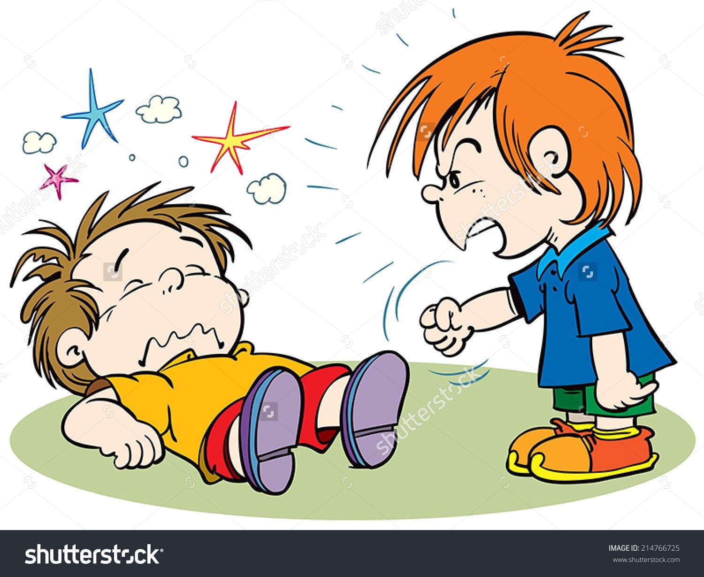 children fighting clipart