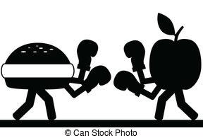 Food fight - Vector , illustration.Fight between a hamburger.
