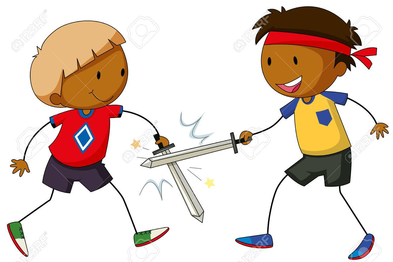 Two boys playing sword fight Stock Vector - 41787764