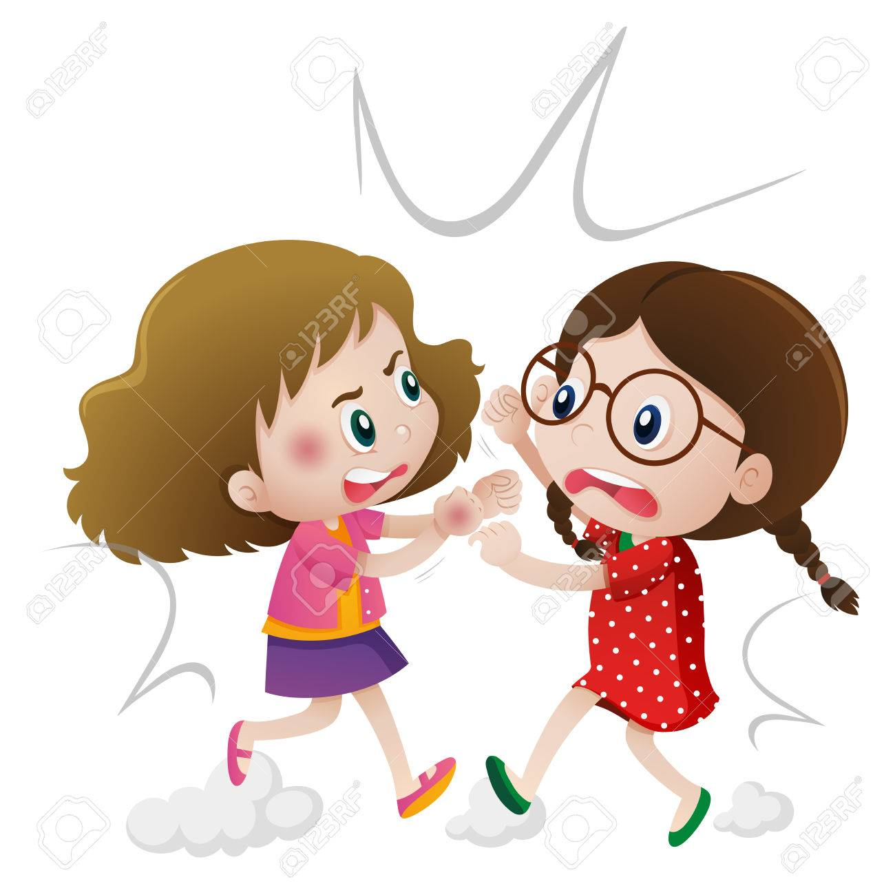 1300x1283 Two Angry Girls Fighting Illus-1300x1283 Two Angry Girls Fighting Illustration Royalty Free Cliparts-3