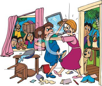 Cartoon Of Two Women Fighting In A Livin-Cartoon of Two Women Fighting in a Living Room - Royalty Free Clip Art Image-5
