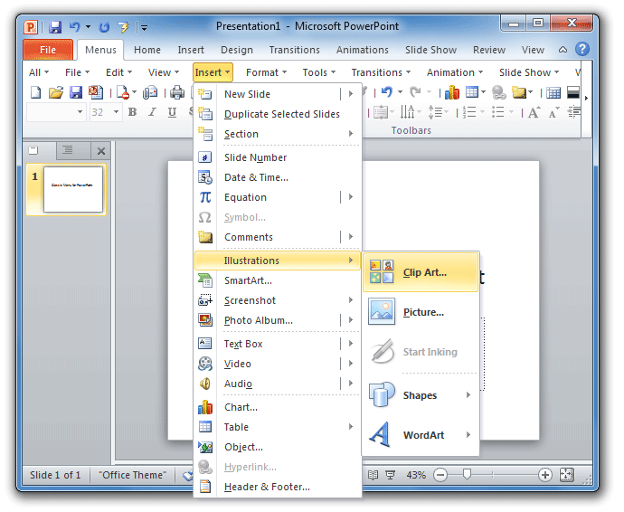 Figure 1: Clip Art in PowerPoint 2010 Menus