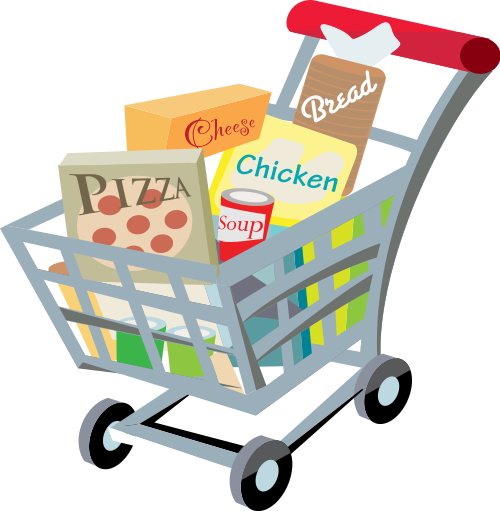File:Shopping cart with food .